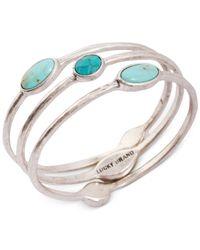 Lucky Brand - Metallic Silver-tone Turquoise Bangle Bracelet Set - Lyst