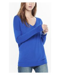 Express | Blue Hint Of Cashmere V-neck Wedge Tunic Sweater | Lyst