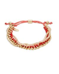 Lord & Taylor - Pink Beaded Charm Bracelet - Lyst