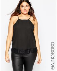 ASOS | Black Longline Cami With Lace Hem | Lyst