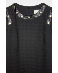 Nicole Miller - Black Textured Squares Long Sleeve Dress - Lyst
