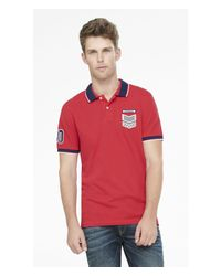 Express - Embroidered Pique Polo for Men - Lyst