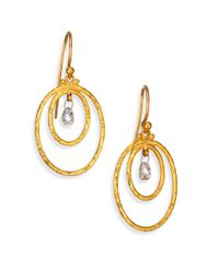 Gurhan | Metallic Hoopla Diamond 24k Yellow Gold Double Oval Hoop Drop Earrings | Lyst