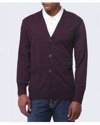 Paul Smith - Purple Contrast Trim Cardigan for Men - Lyst