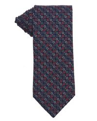Hermès - Blue Navy And Red Circle Printed Silk Tie for Men - Lyst