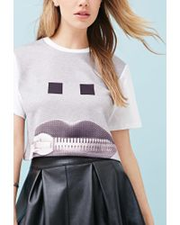 Forever 21 - Gray Ziztar Zip Your Mouth Crop Top - Lyst