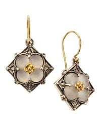Konstantino | Metallic Clover Carved Frosted Crystal Diamond Shape Earrings | Lyst
