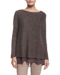 Lafayette 148 New York | Brown Layered-hem Sweater | Lyst