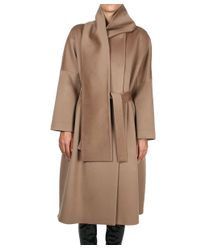 Albino - Natural Wool Coat With Belt And Removable Collar - Lyst