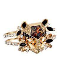 Betsey Johnson - Metallic Hollywood Glam Leopard Head Hinged Bangle Bracelet - Lyst