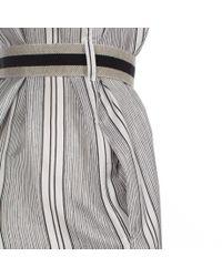 Paul Smith - Black Women'S White Hand-Drawn Stripe Silk Shirt Dress - Lyst