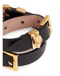Alexander McQueen | Black Three Buckle Double Wrap Skull Leather Bracelet | Lyst
