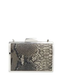 Glint - Gray Snake Embossed Minaudiere - Lyst
