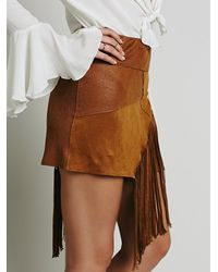 Free People - Brown Vegan Fringe Mini Skirt - Lyst