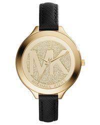 Michael Kors - Women'S Slim Runway Black Saffiano Leather Strap Watch 42Mm Mk2392 - A Macy'S Exclusive - Lyst
