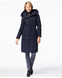 Cole Haan | Blue Hooded Puffer Down Coat | Lyst