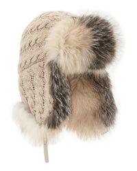 Inverni | Natural Cashmere Cable Trapper Hat W/fur Trim | Lyst