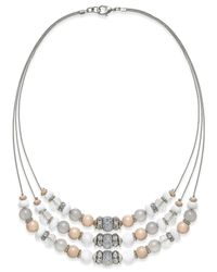 INC International Concepts | Metallic Silver-tone Beaded Three-row Frontal Necklace | Lyst