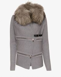 Barbara Bui - Gray Fur Collar Sweater - Lyst