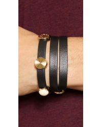 Tory Burch - Livia Leather Triple Wrap Bracelet Blackshiny Brass - Lyst