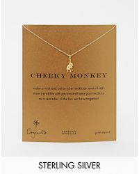 Dogeared | Metallic Gold Plated Cheeky Monkey Necklace | Lyst