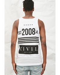 Forever 21 - Black Civil Stripe Graphic Tank - Lyst
