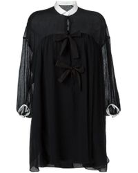 Chloé - Black Contrasted Collar And Cuff Dress - Lyst