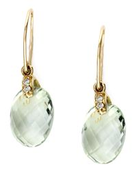 Effy | 14kt Yellow Gold Green Amethyst Earrings With Diamonds | Lyst