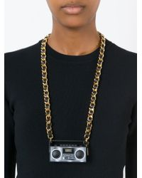 Moschino - Metallic Stereo Charm Necklace - Lyst