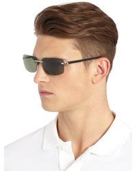 Montblanc - Gray 64mm Rimless Rectangle Sunglasses for Men - Lyst