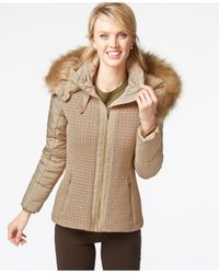 Jones New York | Natural Faux-fur-hood Quilted Knit Jacket | Lyst