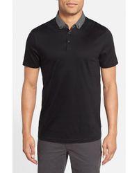 Ted Baker - Black 'jefnor' Short Sleeve Contrast Collar Polo for Men - Lyst