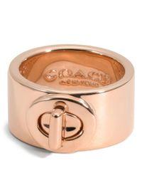 COACH | Metallic Turnlock Ring | Lyst