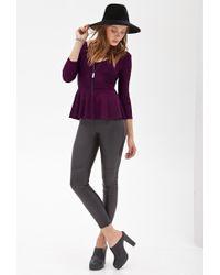 Forever 21 | Purple Ornate Matelassé Peplum Top | Lyst