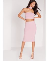 Missguided - Pink Tall Choker Midi Dress Lilac - Lyst