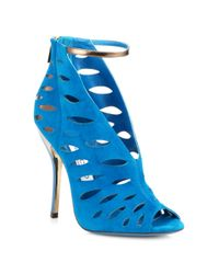 Jimmy Choo | Blue Tamera Suede Cutout Ankle Boots | Lyst