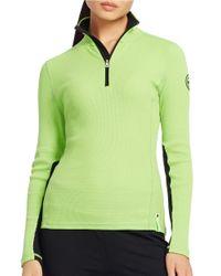 Lauren by Ralph Lauren | Green Waffle-knit Mockneck Pullover Top | Lyst