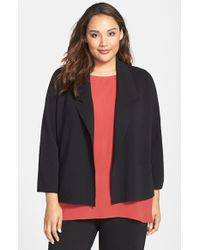 Eileen Fisher | Black Wool Interlock Knit Jacket | Lyst