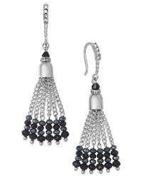 Macy's | Black C.a.k.e. By Ali Khan Silver-tone Beaded Tassel Earrings | Lyst