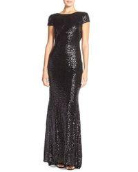 Badgley Mischka | Black Sequin Drape Back Gown | Lyst