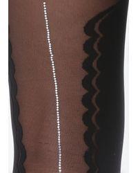 Bebe - Black Faux Thigh-high Pantyhose - Lyst