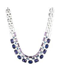 Nine West - Silvertone Purple and Blue Stone Drama Collar Necklace - Lyst