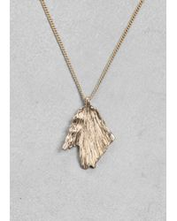 & Other Stories - Metallic Rose Leaf Pendant Necklace - Lyst