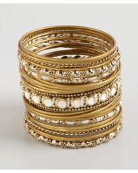 Chamak by Priya Kakkar - Metallic Set Of 25 Gold Metal Enamel and Thread Thin Bangles - Lyst