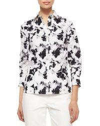 Carolina Herrera - Gray Three-quarter-sleeve Pansy-print Button Blouse - Lyst