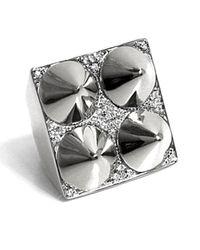 Noir Jewelry | Metallic Four Cone Pyramid Ring | Lyst