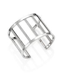 Michael Kors | Metallic Motif Pave Bar Cage Cuff Bracelet/Silvertone | Lyst