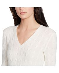 Polo Ralph Lauren - Natural Cabled Cashmere V-neck Sweater - Lyst