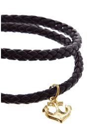 ASOS - Black Leather Wraparound Bracelet with Anchor for Men - Lyst
