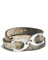 COACH - Multicolor Exotic Twin Signature C Leather Wrap Bracelet - Lyst